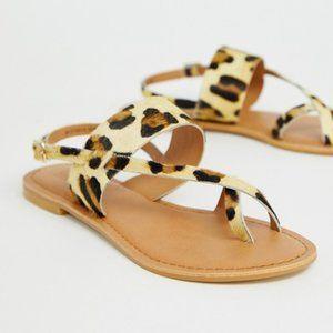 ASOS Design Flisse Leather Flat Sandals in Leopard
